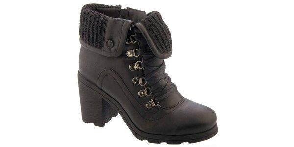 Dámské černé kotníkové boty s vlněnou podšívku Betsy