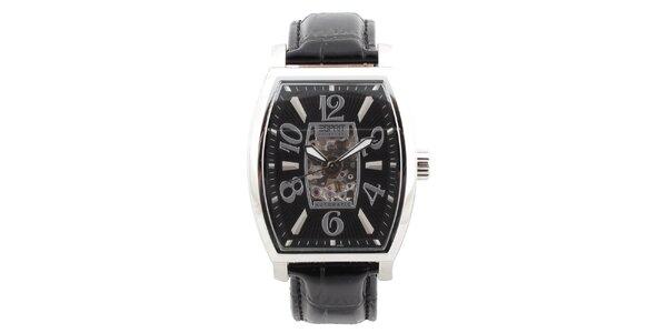 Pánské ocelové hodinky s černým koženým řemínkem Esprit
