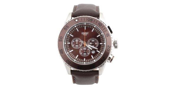 Pánské hnědé hodinky s kulatým tmavým ciferníkem Esprit