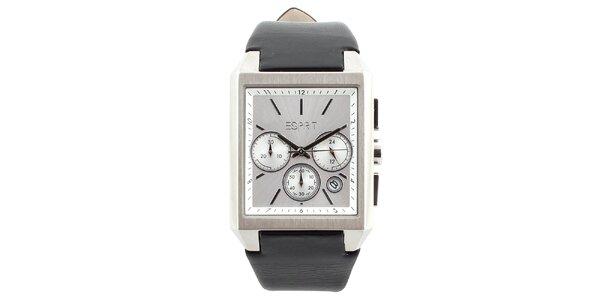 Pánské hranaté hodinky z oceli a kůže Esprit