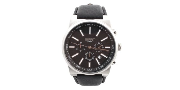 Pánské hodinky s kulatým tmavým ciferníkem Esprit
