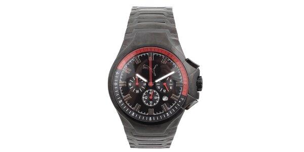 Pánské černé hodinky s chronografem Puma
