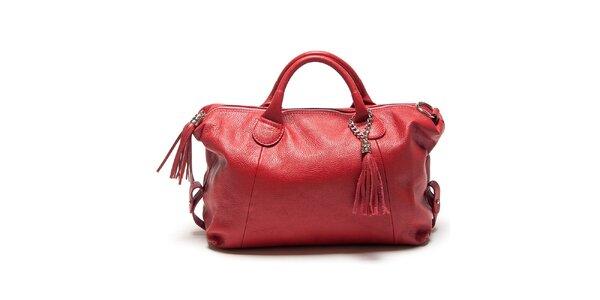 Dámská červená kabelka se střapci Mangotti