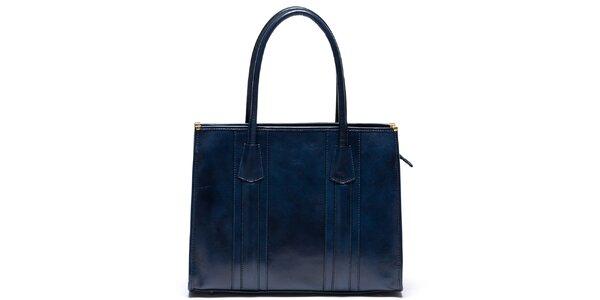 Dámská kožená kabelka s pevnými uchy v modré barvě Mangotti