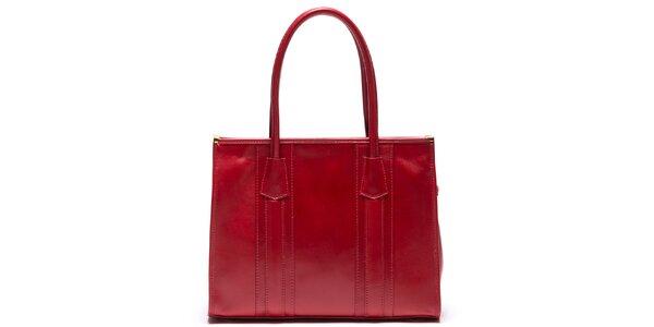 Dámská kožená kabelka s pevnými uchy v červené barvě Mangotti