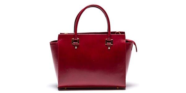 Dámská kožená červená kabelka se zipovou kapsičkou Mangotti