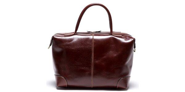 Dámská hnědá kožená kabelka se zipy ve zlatém tónu Mangotti f10caf33066