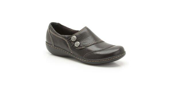 Dámské černé kožené boty s prošíváním Clarks
