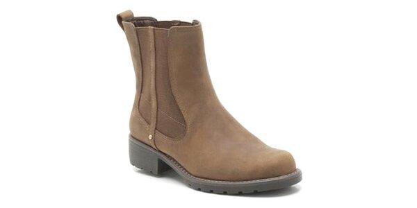 Dámské hnědé boty s elastickou vsadkou Clarks