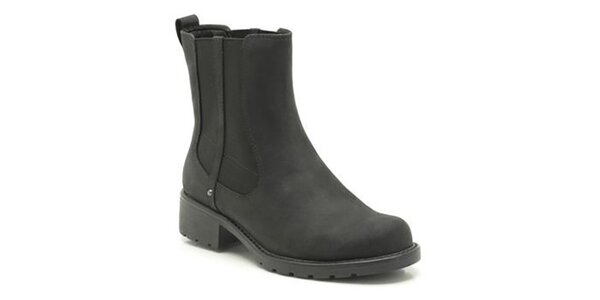 Dámské černé boty s elastickou vsadkou Clarks
