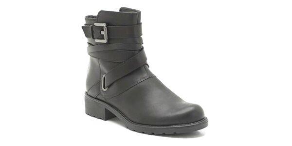 Dámské kožené černé boty s přezkami Clarks