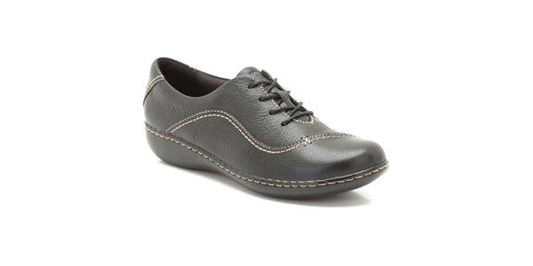 Dámské černé prošívané kožené boty Clarks