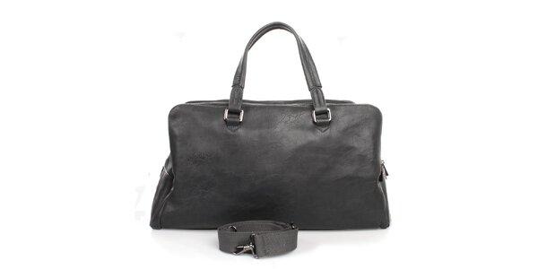 Antracitová taška se třemi kapsami na zip Bobby Black