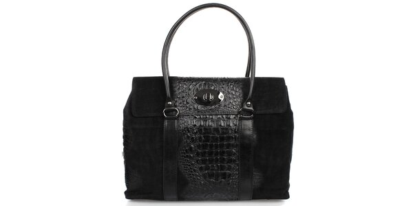 Dámská černá kabelka s kovovým zámečkem Gorétt