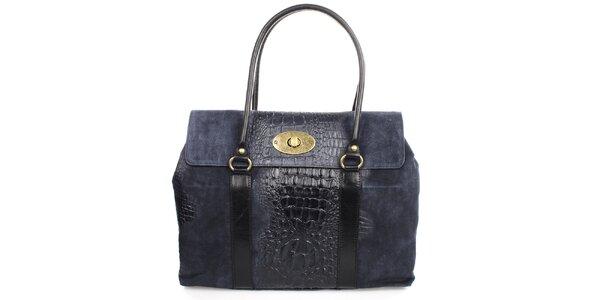 Dámská indigová kabelka s kovovým zámečkem Gorétt