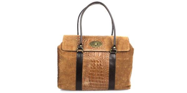 Dámská hnědá kabelka s kovovým zámečkem Gorétt