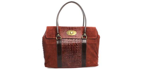 Dámská červená kabelka s kovovým zámečkem Gorétt