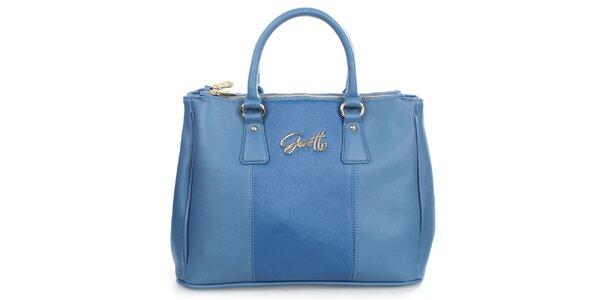 Dámská modrá kabelka s kovovým nápisem Gorétt