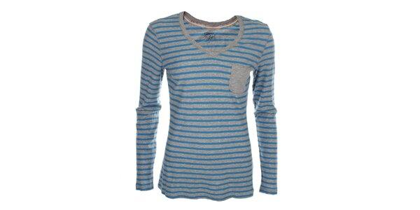 Dámské modro-šedé pruhované tričko Tommy Hilfiger