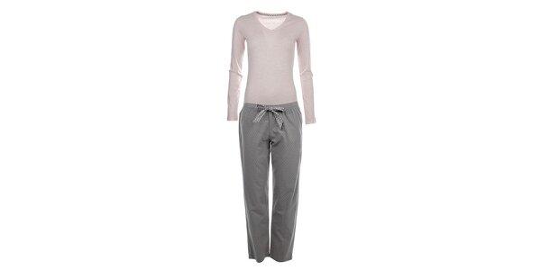 Dámské pyžamo - tričko s dlouhým rukávem a puntíkaté kalhoty Tommy Hilfiger
