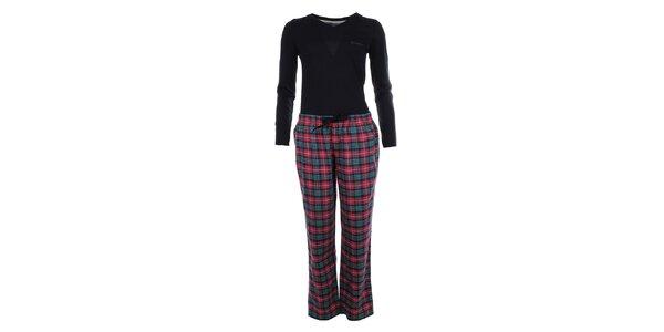 Dámské pyžamo - tričko s dlouhým rukávem a kostkované kalhoty Tommy Hilfiger