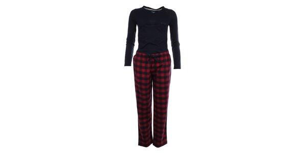 Dámské pyžamo - tričko s dlouhým rukávem a kárované kalhoty Tommy Hilfiger