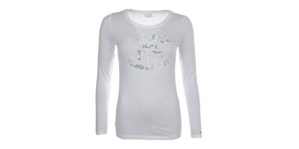 Dámské bílé tričko s potiskem na hrudi Tommy Hilfiger