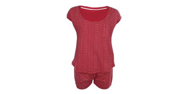 Dámské červené pyžamo se vzorem - tričko a šortky Tommy Hilfiger