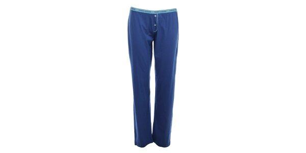 Dámské modré pyžamové kalhoty s knoflíčky Tommy Hilfiger