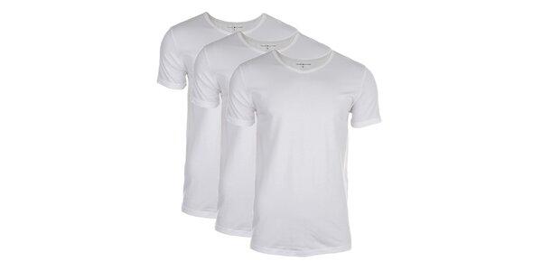 Sada tří pánských bílých triček Tommy Hilfiger