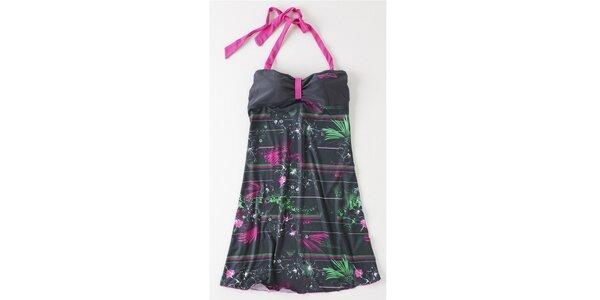 Dámské šedé mini šaty Brunotti s růžovo-zeleným potiskem