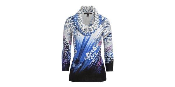 Dámský modře vzorovaný svetřík s leopardím šátkem Imagini