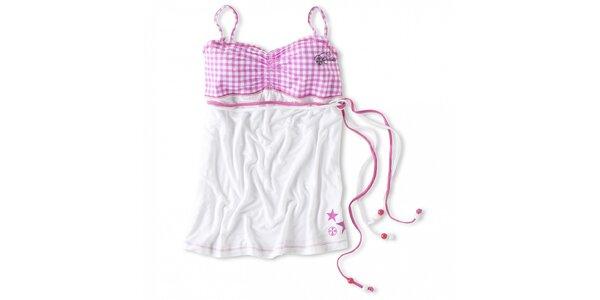 Dámský bílý top s růžovými kostkami Brunotti