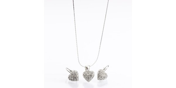 Dámský set - srdíčkové náušnice a náhrdelník Laura Bruni