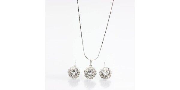 Dámský set - náušnice a náhrdelník s krystalky Laura Bruni