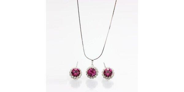 Dámský set - náušnice a náhrdelník s barevnými krystaly Laura Bruni