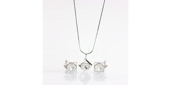 Dámský set - hranaté náušnice a náhrdelník s krystaly Laura Bruni