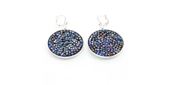 Dámské kulaté náušnice s modrými krystaly Laura Bruni
