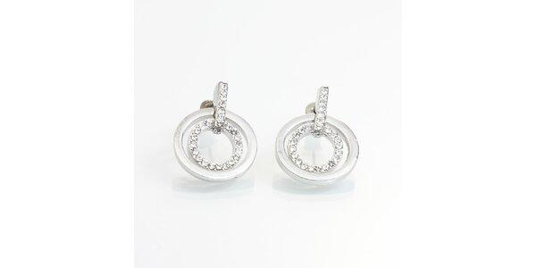 Dámské kulaté náušnice s malými krystalky Laura Bruni