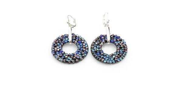 Dámské kruhové náušnice s modrými krystaly Laura Bruni