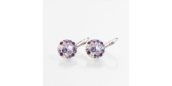 Dámské náušnice s fialovými krystaly Laura Bruni