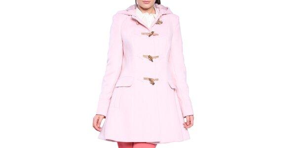 Dámský světle růžový kabát s olivkovými knoflíky Vera Ravenna