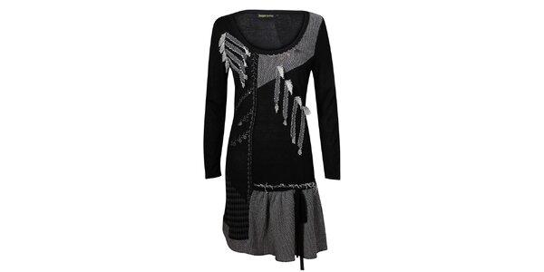 Dámské černo-šedé sešívané šaty Sugar Crisp