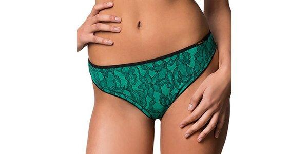 Dámská zeleno-černá tanga s krajkovým potiskem Sapph
