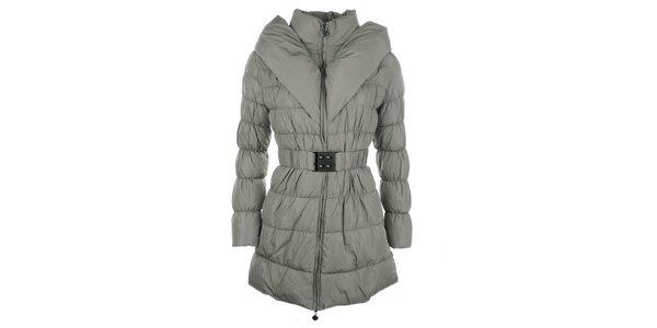 Dámský khaki prošívaný kabátek s límcem Fly Moda