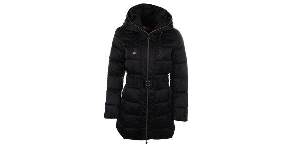 Dámský černý kabátek s kapucí Fly Moda
