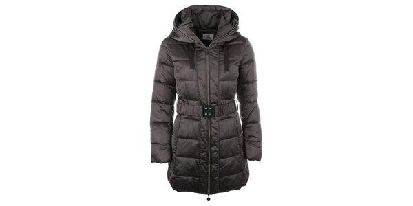 Dámský hnědý kabátek s kapucí Fly Moda