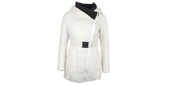 Dámský bílý kabátek se šikmým zipem Fly Moda
