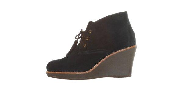 Dámské černé šněrovací kotníkové boty Dr. Scholl s klínem