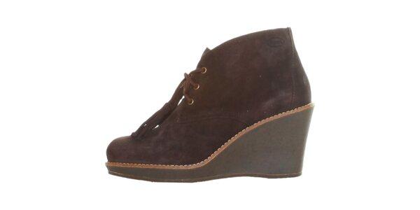 Dámské kávově hnědé šněrovací kotníkové boty Dr. Scholl s klínem